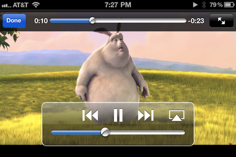 Big Buck Bunny playing in the Video widget
