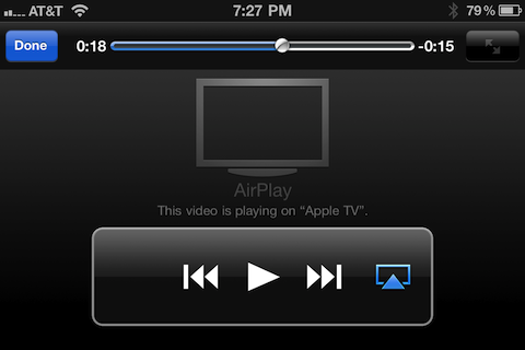 Big Buck Bunny playing via AirPlay to Apple TV 2