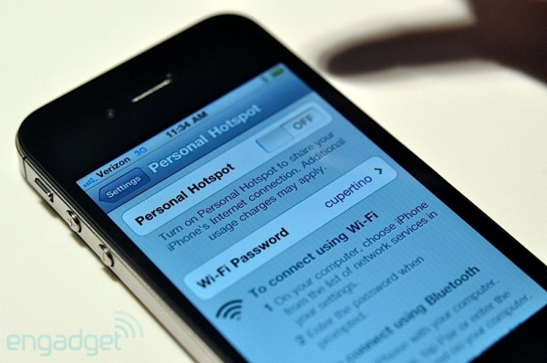 Wi-Fi Tethering in iOS. Credit: Engadget
