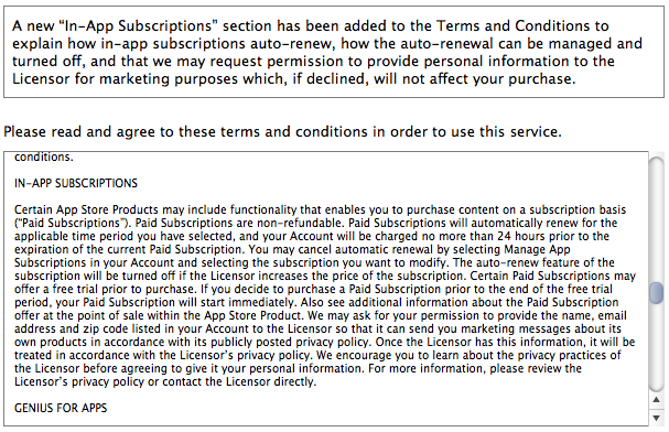 Subscription terms and conditions